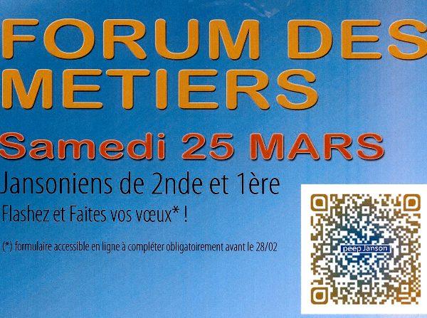 Forum des métiers samedi 25 mars