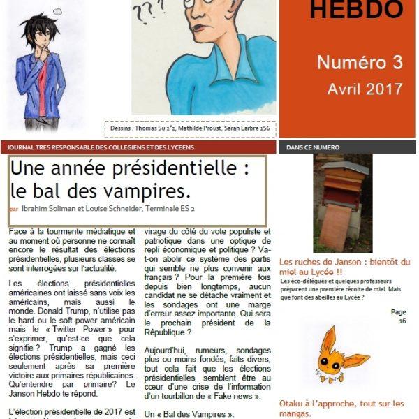 Janson Hebdo primé au concours Médiatiks 2017.