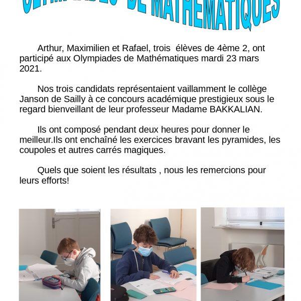Janson aux Olympiades de mathématiques